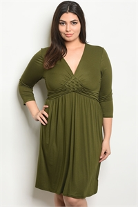 C83-A-4-D10494X OLIVE PLUS SIZE DRESS 1-2-2-1