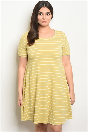C81-A-5-D13073X YELLOW STRIPES PLUS SIZE DRESS 2-2-2