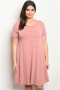 C79-A-6-D13073X BLUSH STRIPES PLUS SIZE DRESS 2-2-2
