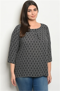 C87-B-5-T5854X BLACK WHITE PRINT PLUS SIZE TOP 2-2-2