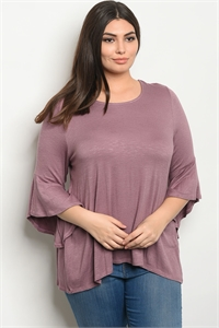 C89-B-3-T7664X MAUVE PLUS SIZE TOP 2-2-1