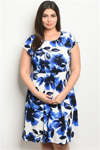 C89-A-1-D13723X WHITE BLUE PLUS SIZE DRESS 2-2-2