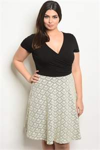 C89-A-5-D7453B-3X BLACK IVORY PLUS SIZE DRESS 1-2-2-1