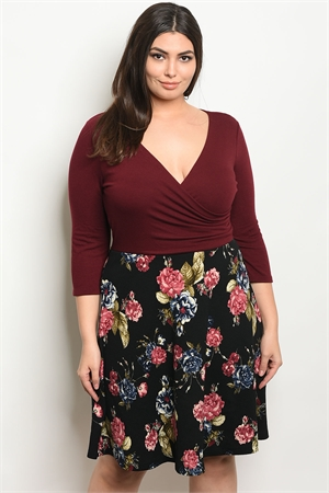 C85-A-1-D9888BX WINE BLACK FLORAL PLUS SIZE DRESS 2-2-1