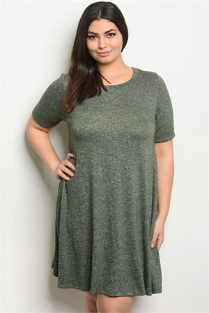 S8-14-3-D114611X OLIVE PLUS SIZE DRESS 2-2-2
