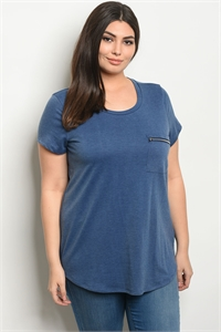 S18-12-4-T8098X DENIM BLUE PLUS SIZE TOP 2-2-2