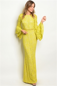 S2-4-2-D1137 YELLOW NUDE LACE DRESS 2-2-2
