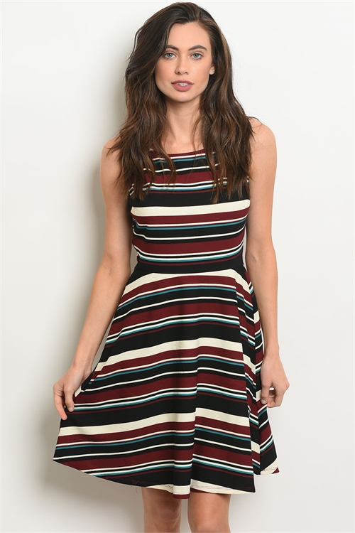 S2-7-1-D14341 BURGUNDY BLACK STRIPES DRESS 2-2-2