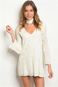 S2-4-5-D012 IVORY WITH FLOWER EMBROIDERY DRESS 2-2-1