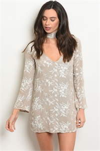 S2-6-5-D012 TAUPE WITH FLOWER EMBROIDERY DRESS 2-2-1