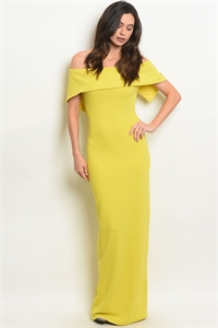 S3-9-3-D9060 YELLOW OFF SHOULDER DRESS 2-2-2