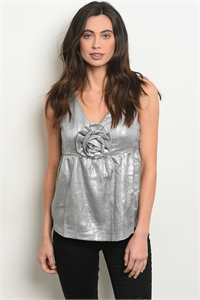 SA3-7-1-T7129 SILVER WITH SEQUINS TOP 2-2-2