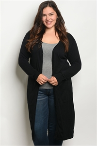 SA4-4-2-C1029X BLACK PLUS SIZE CARDIGAN 2-2-2