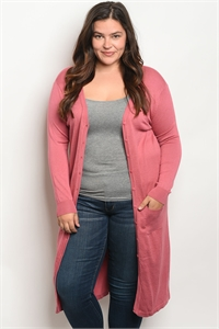 SA4-4-1-C1029X DUSTY ROSE PLUS SIZE CARDIGAN 2-2-2