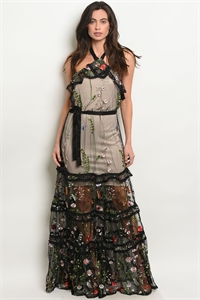 SA3-7-4-D73300 BLACK NUDE FLOWER EMBROIDERY DRESS 2-2-2