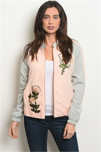 S7-3-2-J30208 PINK GRAY WITH FLOWER PATCH JACKET 2-2-2