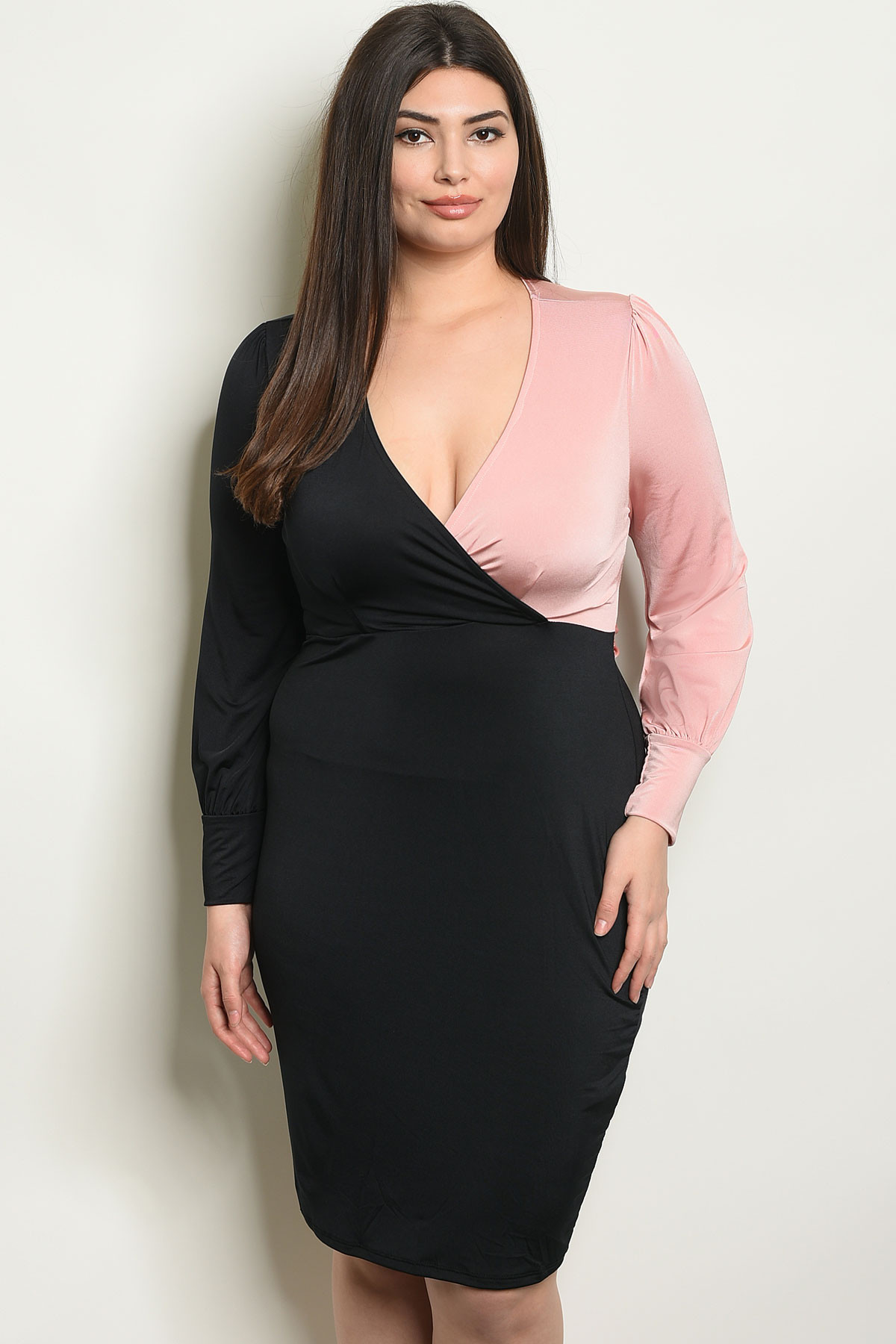 C70-A-3-D1517X BLACK BLUSH PLUS SIZE DRESS 2-2-2