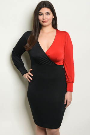 C57-A-6-D1517X BLACK RED PLUS SIZE DRESS 2-2-2