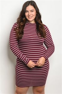 C77-A-1-D1396X BURGUNDY IVORY STRIPES PLUS SIZE DRESS 2-2-2