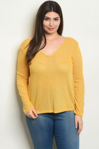C49-B-4-T1481X MUSTARD PLUS SIZE TOP 2-2-2