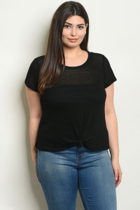 C53-B-3-T1021KX BLACK PLUS SIZE TOP 2-2-2