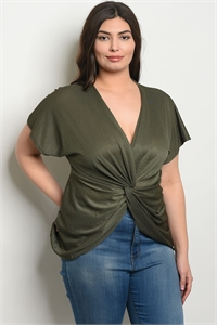 C87-A-2-T1796X OLIVE PLUS SIZE TOP 2-2-2
