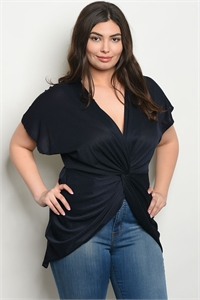 C102-A-3-T1796X NAVY PLUS SIZE TOP 2-2-2