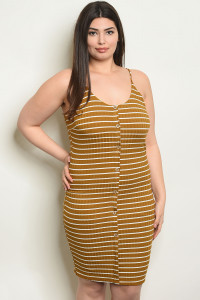 C89-A-5-D1585AX MUSTARD IVORY STRIPES PLUS SIZE DRESS 2-2-2