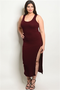 C81-A-5-D1456X BURGUNDY PLUS SIZE DRESS 2-2-2