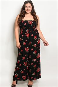 C72-A-1-R1815X BLACK FLORAL PLUS SIZE JUMPSUIT 1-1-1