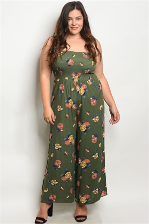 C60-A-2-R1815X GREEN FLORAL PLUS SIZE JUMPSUIT 2-2-2