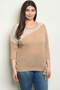 C29-A-3-T9144X MOCHA PLUS SIZE TOP 2-2-2