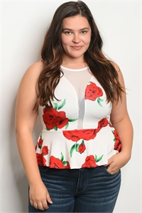 C8-A-2-T17585X OFF WHITE RED PLUS SIZE TOP 2-3-3