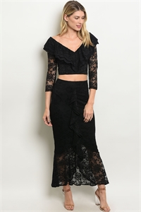 111-4-1-SET14036 BLACK TOP & SKIRT SET 2-2-2