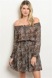 111-5-4-D13086 BROWN ANIMAL LEOPARD PRINT DRESS 2-2-2