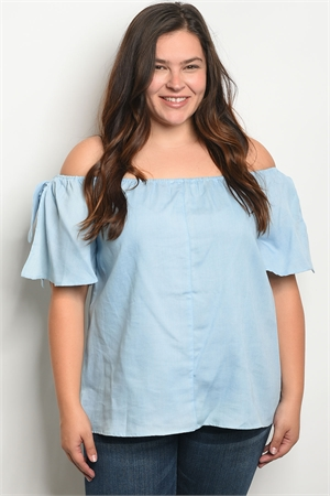 S20-11-1-T3549X BLUE PLUS SIZE TOP 2-2-2