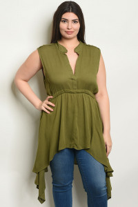 136-3-1-T3569X OLIVE PLUS SIZE TOP 2-2-2