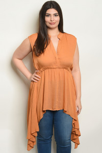 S13-7-4-T3569X MUSTARD PLUS SIZE TOP 2-2-2