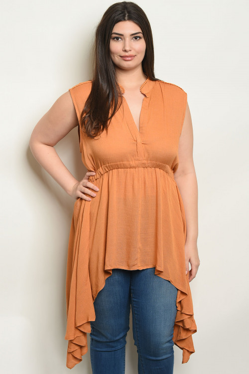 113-2-4-T3569X MUSTARD PLUS SIZE TOP 1-3-3