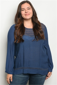 S14-2-3-T9370X INDIGO PLUS SIZE TOP 2-2-2