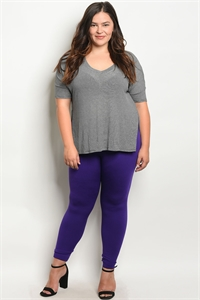 SA4-00-2-L13360X PURPLE PLUS SIZE LEGGINGS / 6PCS