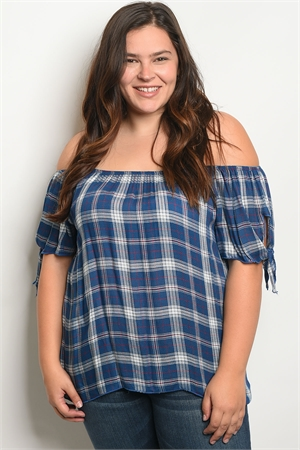 C75-A-1-T1189X BLUE WHITE CHECKERED PLUS SIZE TOP 3-3-1