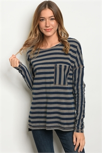 SA4-00-3-T23658 MOCHA NAVY STRIPES TOP 2-2-2