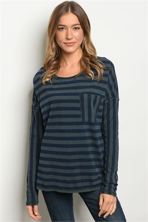 SA4-00-3-T23658 OLIVE NAVY STRIPES TOP 2-2-2