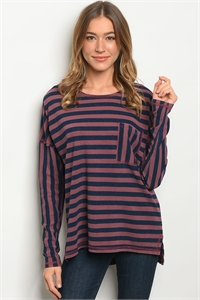 SA4-00-3-T23658 MAUVE NAVY STRIPES TOP 2-2-2