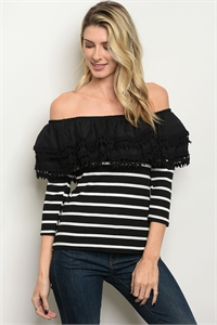 SA4-00-1-T9785 BLACK WHITE STRIPES TOP 2-2-2