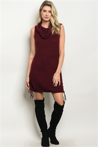 111-4-4-D8162 BURGUNDY SWEATER DRESS 2-2-2