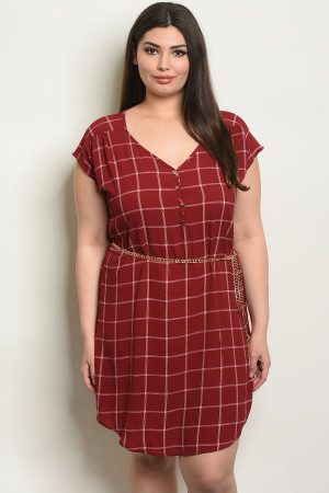 SA4-0-4-D9806X WINE CHECKERED PLUS SIZE DRESS 2-2-2