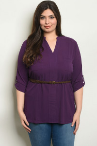 SA4-0-4-T3302X PURPLE PLUS SIZE TOP 2-2-2