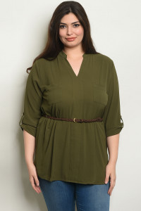 S19-11-4-T3302X OLIVE PLUS SIZE TOP 2-2-2